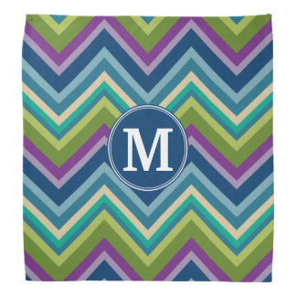 Colorful Chevron Pattern Custom Monogram Bandana