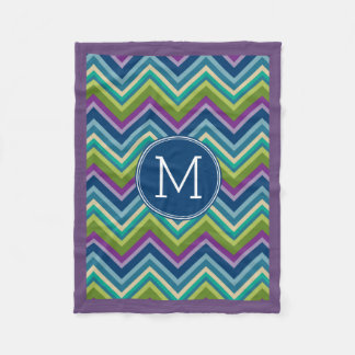 Colorful Chevron Pattern Custom Monogram Fleece Blanket
