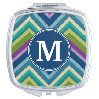 Colorful Chevron Pattern Custom Monogram Makeup Mirror