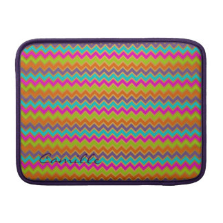 colorful chevron pattern personalized with name MacBook sleeve