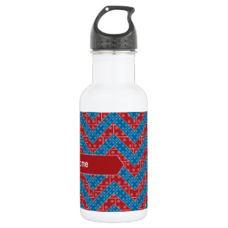 Colorful Chevron Pattern with Bricks Red Blue 532 Ml Water Bottle