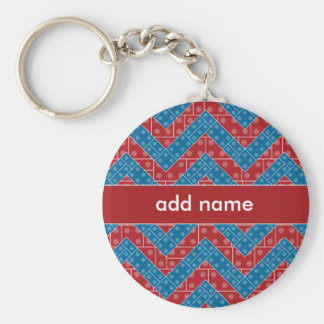 Colorful Chevron Pattern with Bricks Red Blue Basic Round Button Key Ring