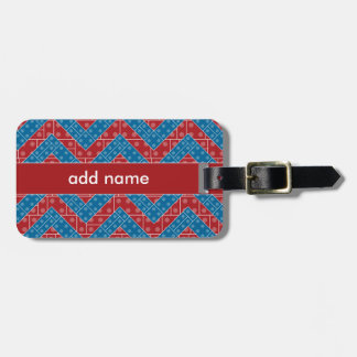 Colorful Chevron Pattern with Bricks Red Blue Travel Bag Tag