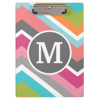 Colorful Chevron Pattern with Custom Monogram Clipboard