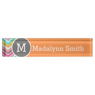 Colorful Chevron Pattern with Custom Monogram Name Plate