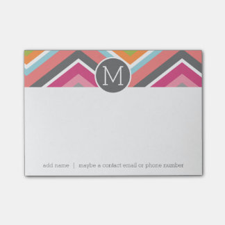 Colorful Chevron Pattern with Custom Monogram Post-it Notes