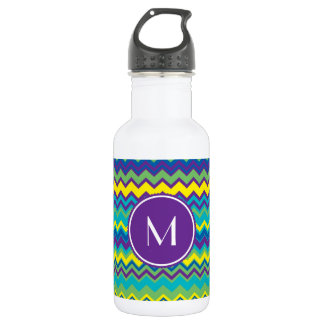 Colorful Chevron Pattern With Monogram 532 Ml Water Bottle