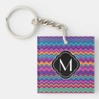 Colorful Chevron Pattern with Monogram Double-Sided Square Acrylic Key Ring