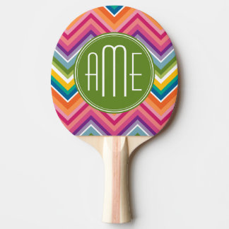 Colorful Chevron Pattern with Monogram Ping Pong Paddle
