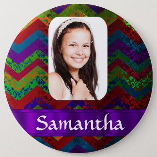 Colorful chevron photo template 6 cm round badge