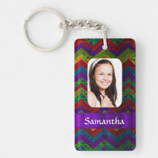 Colorful chevron photo template key ring