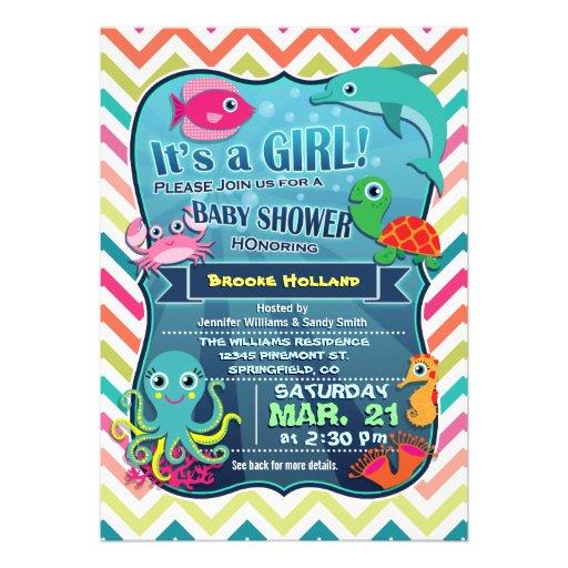 Colorful Chevron Sea Life, Girl Baby Shower Personalized Invitation