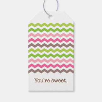 Colorful chevron stripe gift tags