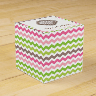 Colorful chevron stripe with chocolate truffle favour box