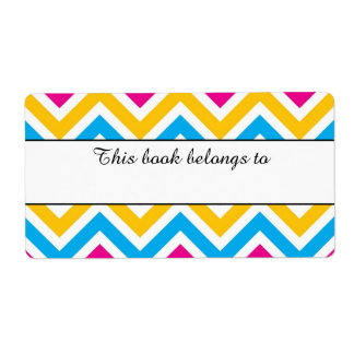 "Colorful Chevron ""This Book Belongs To"" Labels"