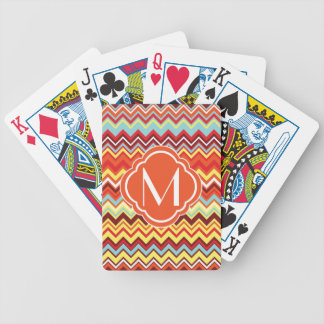 Colorful Chevron Zig Zag Pattern with Monogram Bicycle Playing Cards