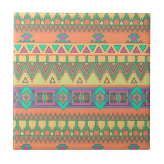 Colorful Chevron Zig Zag Tribal Aztec Ikat Pattern Small Square Tile