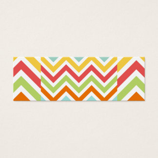 Colorful Chevron Zigzag Stripes Pattern Mini Business Card