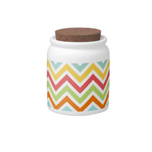 Colorful Chevron Zigzag Stripes Pattern Candy Jars