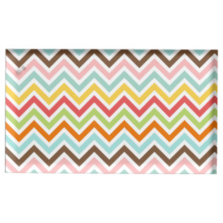 Colorful Chevron Zigzag Stripes Pattern Table Card Holder