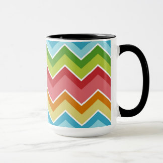 Colorful chevrons zig zag stripes pattern mug