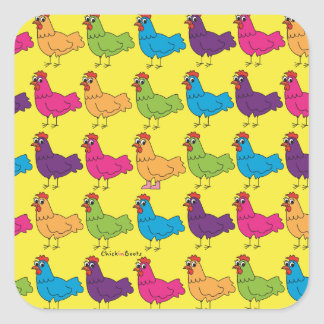 Colorful Chickens Stickers
