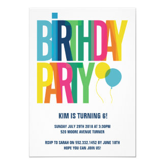 Colorful Children's Birthday Party Invitation