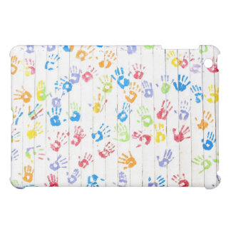 Colorful children's handprints on a fence case for the iPad mini