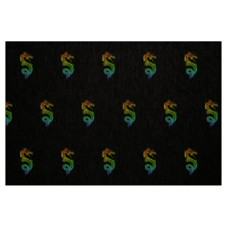 Colorful Chinese Dragon Natural Linen Fabric