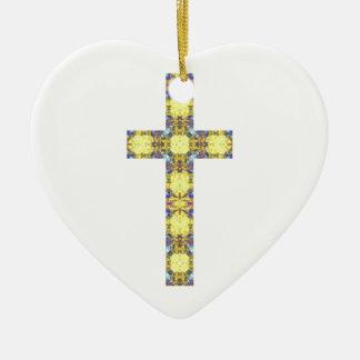 Colorful Christian Cross 3 Ceramic Heart Decoration