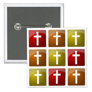 Colorful Christian Crosses 15 Cm Square Badge