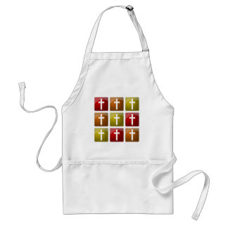 Colorful Christian Crosses Adult Apron