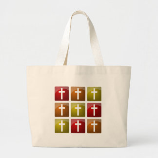 Colorful Christian Crosses Canvas Bag