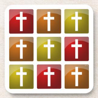 Colorful Christian Crosses Coasters