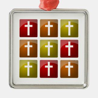 Colorful Christian Crosses Christmas Tree Ornaments