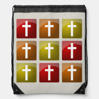 Colorful Christian Crosses Drawstring Backpack