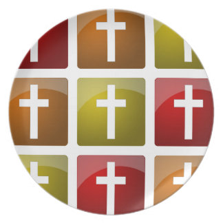 Colorful Christian Crosses Plate
