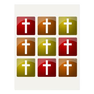 Colorful Christian Crosses Postcard