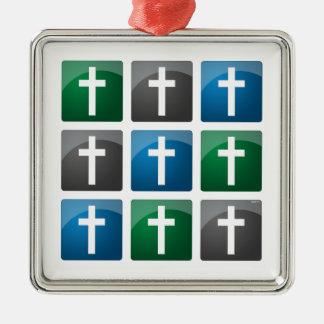 Colorful Christian Crosses Silver-Colored Square Decoration
