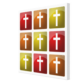 Colorful Christian Crosses Stretched Canvas Print