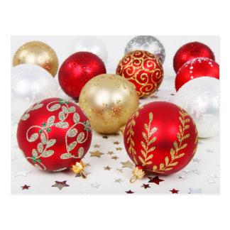 Colorful Christmas baubles Postcard