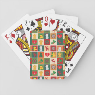 Colorful Christmas Collage Playing Cards