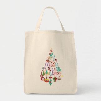 Colorful Christmas Holiday Tree Tote Bag