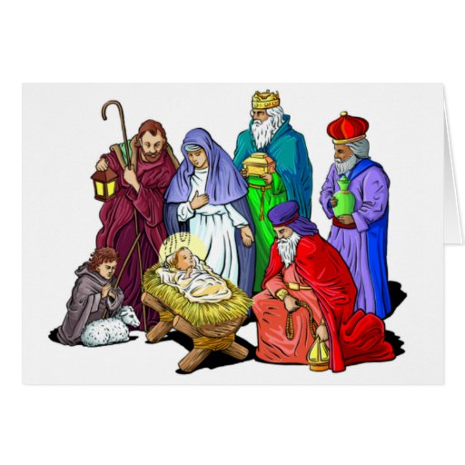 Colorful Christmas Nativity Scene Greeting Cards