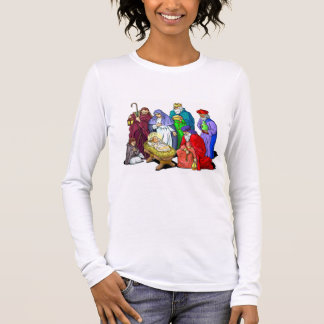 Colorful Christmas Nativity Scene Long Sleeve T-Shirt