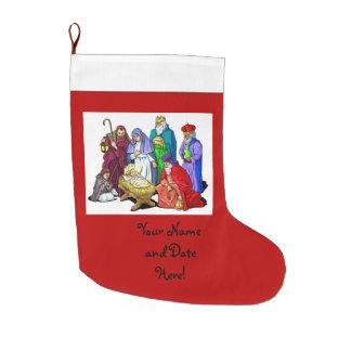 Colorful Christmas Nativity Scene Large Christmas Stocking