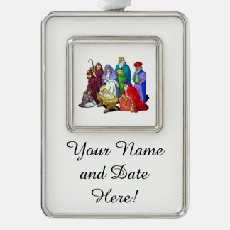 Colorful Christmas Nativity Scene Silver Plated Framed Ornament