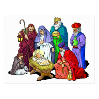 Colorful Christmas Nativity Scene Post Cards
