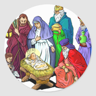 Colorful Christmas Nativity Scene Round Sticker