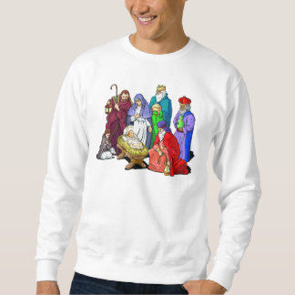 Colorful Christmas Nativity Scene Sweatshirt